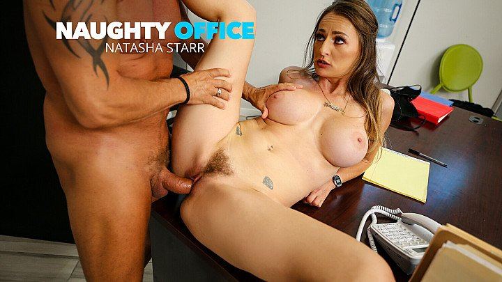 Big tits boss Natasha Starr fucks her new employee