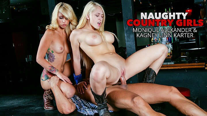 Naughty Country Girls Kagney Linn Karter and Monique Alexander get fucked